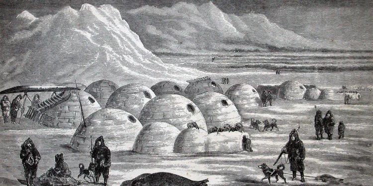 Inuit village in 1800s